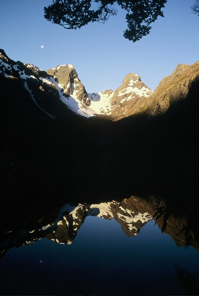 Mountains reflected in Lake Mackenzie on the Routeburn Track
