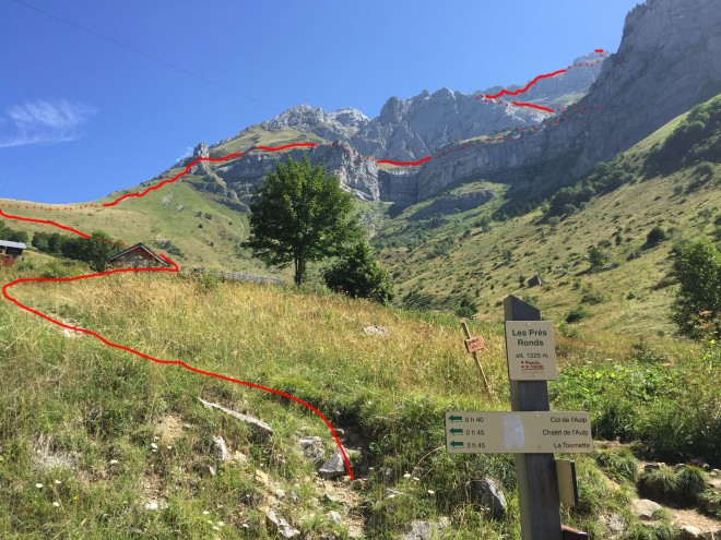 The Route from Les Pres Ronds car park. Col de l'Aulp is out of view to the left.