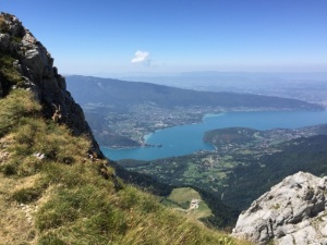 A mountain ibex overlooking Lake Annecy, from just below the summit terrace.
