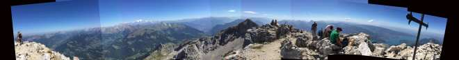 Summit Panorama. Mont Blanc to the east, revolving south to Lake Annecy in the northwest.