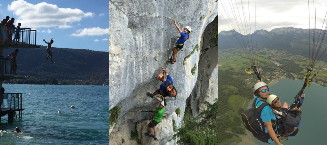 The public diving tower, via ferrata and paragliding at Lake Annecy, France